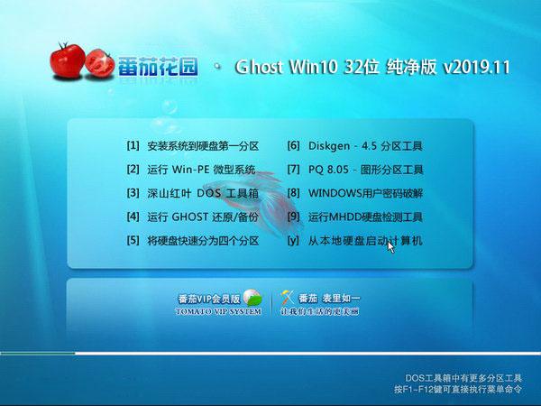 番茄花园 Ghost Win10 32位 纯净版 v2019.11
